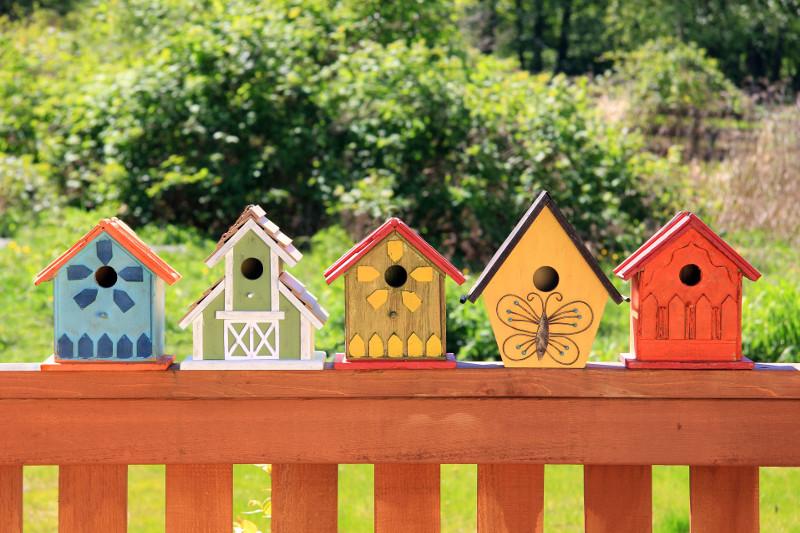 Rząd ręcznie dekorowanych budek dla ptaków może nigdy nie zostać zamieszkały. Dobre rozwiązanie dla leniwych, którzy nie mają czasu na pielęgnowanie roślin przy płocie.