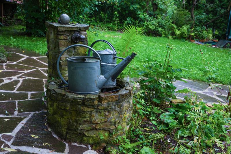 Kamienna pompa w zacienionym miejscu w ogrodzie.